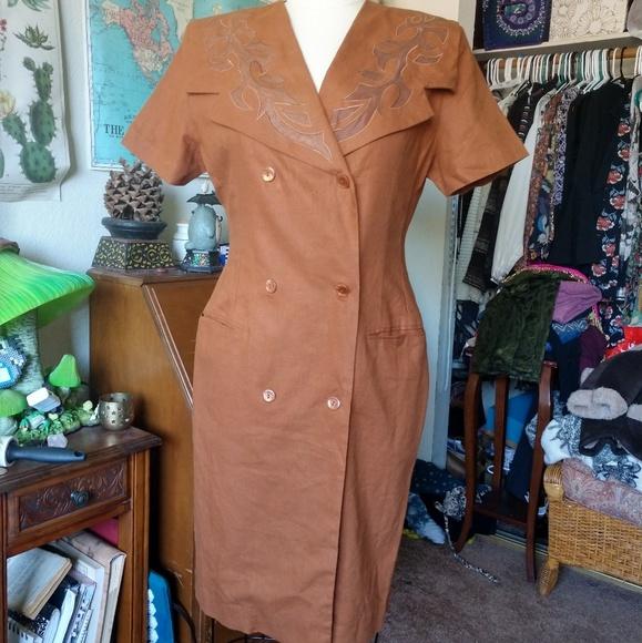 Jennifer Eden Dresses & Skirts - 80's VINTAGE Brow Linen Button Front Busines Dress